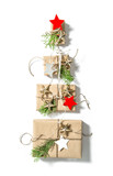 Gift boxes on white background Christmas holidays