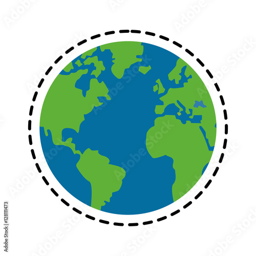 Planet sphere icon. Continent earth world and globe theme. Isolated design. Vector illustration - 128111473