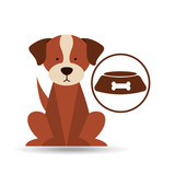 veterinary dog care bowl of dog food icon vector illustration eps 10