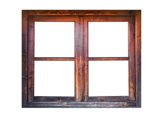 A closed wooden window isolated on white background