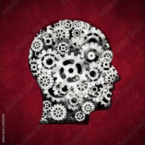 Poszter Metal cogs forming head shape. 3D illustration