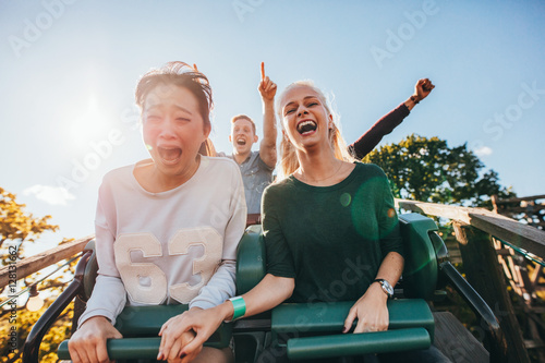 Poster Enthusiastic young friends riding amusement park ride