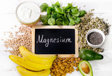 Products containing magnesium. Healthy food concept.