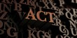 Act - Wooden 3D rendered letters/message.  Can be used for an online banner ad or a print postcard.