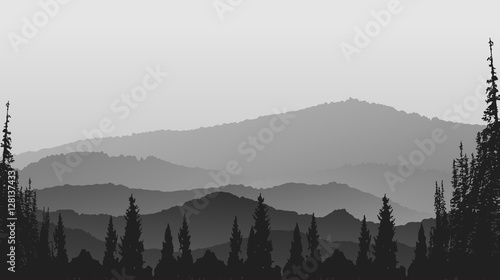 Landscape with fog huge mountains abstract background.