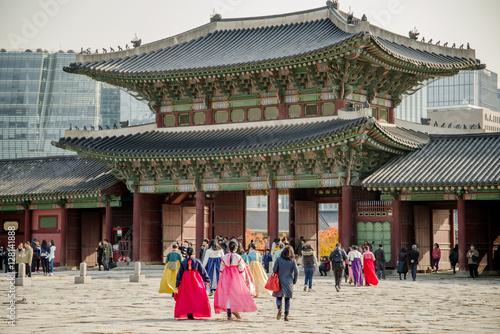 Fotobehang Seoel Nov 16, 2016 at Gyeongbokgung palace, Seoul , Korea