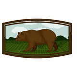Bear inside frame icon. Animal wild nature wildlife and character theme. Isolated design. Vector illustration - 128143689