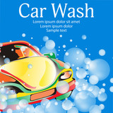 Car wash. Poster template for your design. Vector illustration.