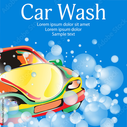 Plexiglas Auto Car wash. Poster template for your design. Vector illustration.