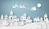 Illustration of Santa Claus on the sky coming to City - 128153602
