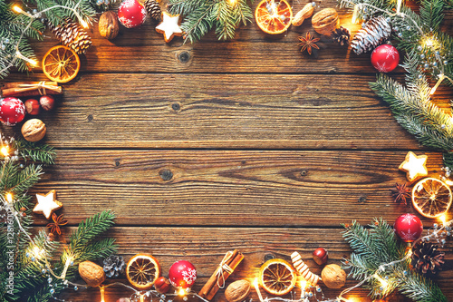 Poster Christmas decoration on a wooden table