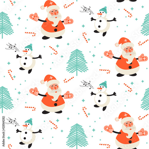 Materiał do szycia Happy Santa Claus and singing snowman pattern. Christmas seamless vector pattern.