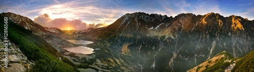 Panoramic view of the five lakes valley in tatra mountain