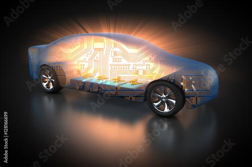 Karosserie eines Elektroautos mit Blick auf den Akku