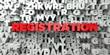 REGISTRATION -  Red text on typography background - 3D rendered royalty free stock image. This image can be used for an online website banner ad or a print postcard.