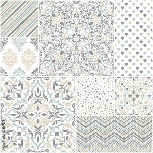 Set of 8 seamless background of blue and gray color in the style of vintage - 128167218