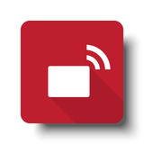 Flat Transmitter web icon on red button with drop shadow