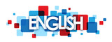 """ENGLISH"" blue and red vector letters icon"