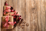 Christmas background with rustic gifts and pine cones. top view with copy space