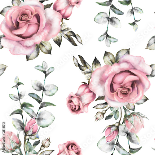 Seamless pattern with pink flowers and leaves on white background, watercolor floral pattern, flower rose in pastel color, seamless flower pattern for wallpaper, card or fabric - 128181013