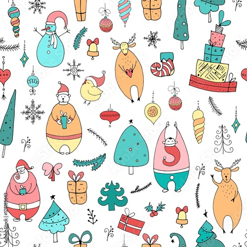 Materiał do szycia Cute Christmas and New Year seamless pattern. Holiday elements:Santa, deer, noel, gift, ball, snowflake, bear, noel.
