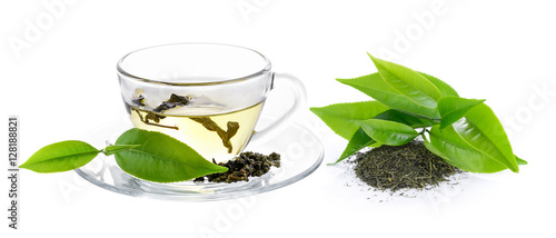 Fototapeta cup of green tea on white background