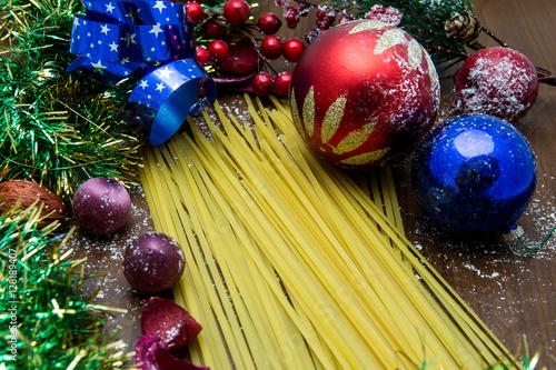 Poster Pasta festività di Natale e decori colorati
