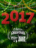 New Year 2017 in shape of knitted fabric against pine branches. Christmas wishes with decoration. Vector illustration for new years day, christmas, winter holiday, new years eve, silvester, etc
