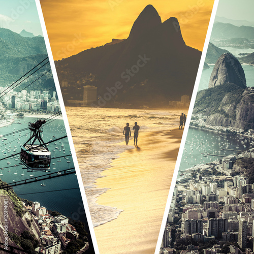 Poster Collage of Rio de Janeiro (Brazil) images - travel background (m