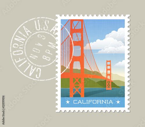 California postage stamp design. Vector illustration of golden gate bridge. Grunge postmark on separate layer