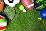Various sport tools on grass - 128200832