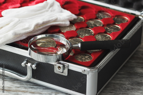 Plakat Box with different collector's coins