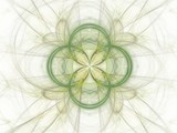 Abstract fractal with green floral pattern