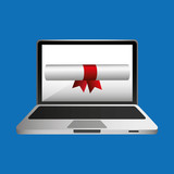 online education concept certificate diploma icon vector illustration eps 10