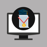 online education technology cap certificate vector illustration eps 10