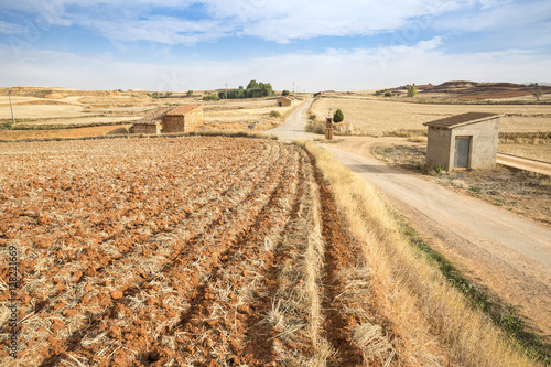 Poster landscape with a plowed land and a country road in Cuencabuena, Teruel, Spain