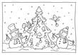 Leinwandbild Motiv Ausmalbild Weihnachten