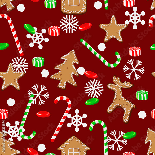 Materiał do szycia Seamless pattern with Christmas candies, cookies and snowflakes on a red background.