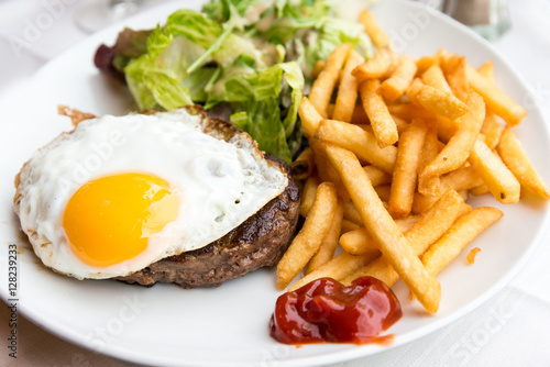 Poster Egg and fries - classical english breakfast with egg and fries