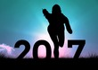 Silhouette of running person forming 2017 new year sign