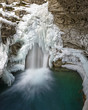 Johnston Canyon Falls in Banff National Park Alberta Canada in winter