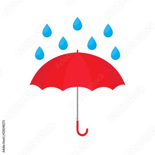 Red umbrella with raindrop vector