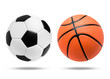 Soccer ball and Basketball ball on isolated.