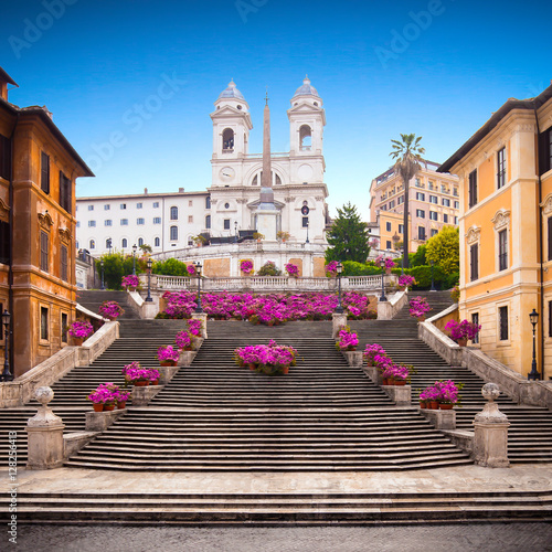 Staande foto Rome Spanish steps with azaleas at sunrise, Rome
