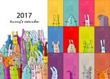 Funny rabbits. Design calendar 2017