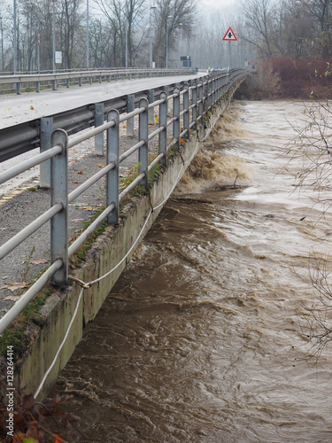 Poster River Po flood in Turin