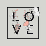 Flowers typography poster design, text and florals combined, word love
