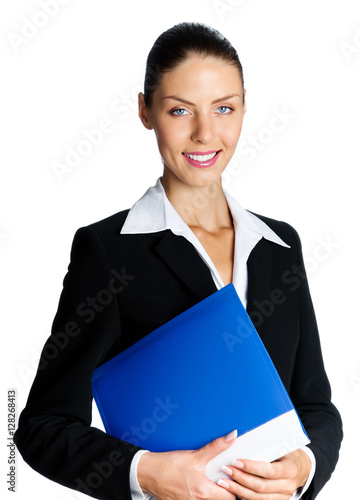 Poster businesswoman with blue folder, isolated on white