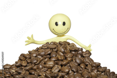 Poster Close up of a happy coffee lover with organic coffee beans