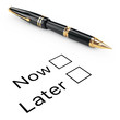 Survey Concept. Now or Later Checklist with Golden Fountain Writ